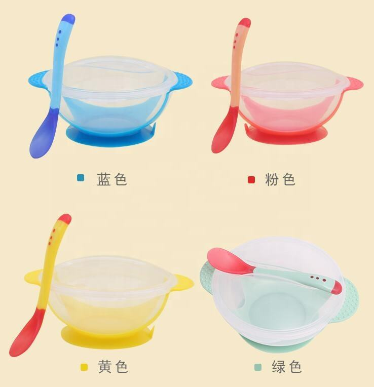 3Pcs/set Baby Tableware Dinnerware Suction Bowl with Temperature Sensing Spoon Baby Food Baby Feeding Bowls Dishes for Eating