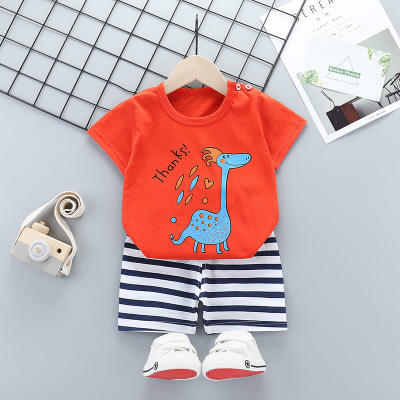 2 Pcs Baby Boys Girls Clothes Short Sleeve T-Shirt Children's Clothing Set for Kids Lovely Cute Cartoon Pajamas Clothes
