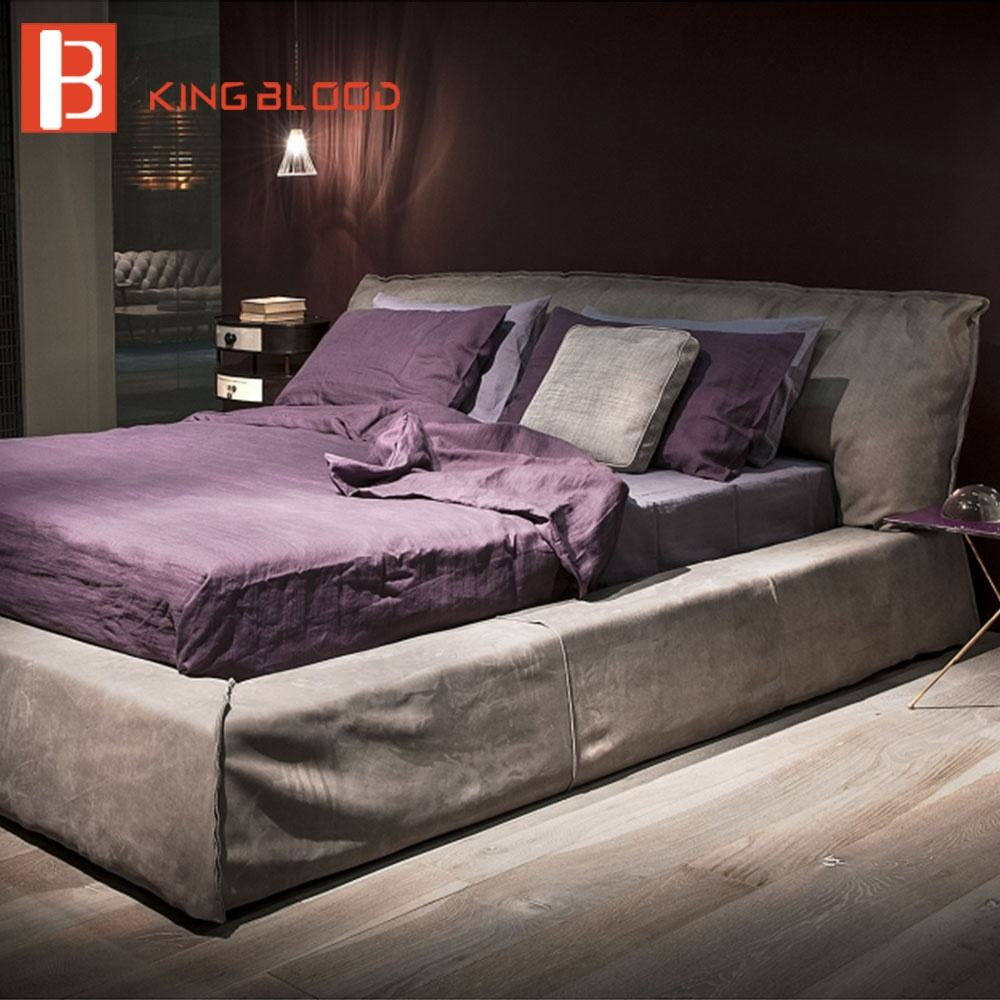 Italië Ontwerp Villa Luxe Nubuck Leer Moderne Bed Room Furniture Koning Queen Bed Frame