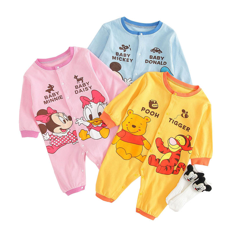 Wholesale 100% cotton Disneys baby clothes soft stylish baby spring romper set baby romper
