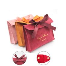 Free sample Custom logo printed small envelope shape bag luxury Suede Flap Jewelry necklace Pouch With Ribbon Bow