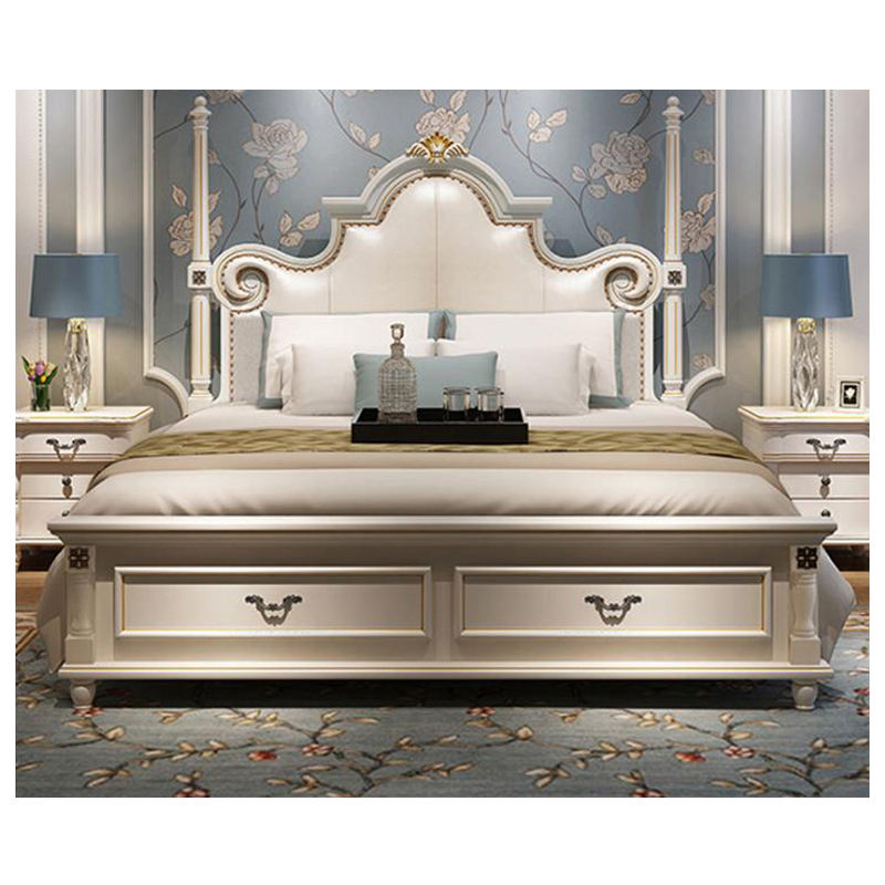 modern european solid wood bed Fashion Carved 1.8 m bed french bedroom furniture bng004