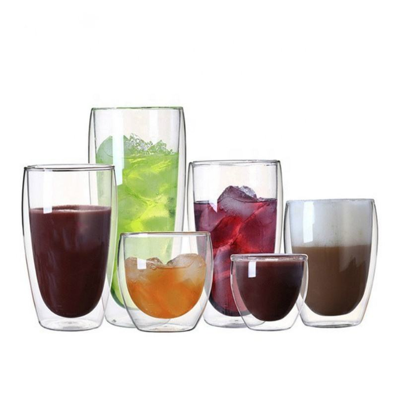 80-450Ml Glas Wijn Mok Hoge Borosilicate Double Wall Coffee Cup