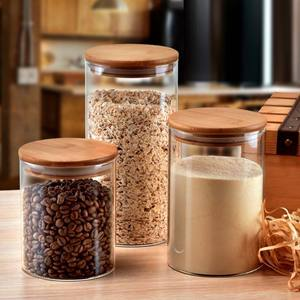 Borosilicate glass storage jar with bamboo lid for tube shaped glass storage jar for glass spice jar with wooden lid