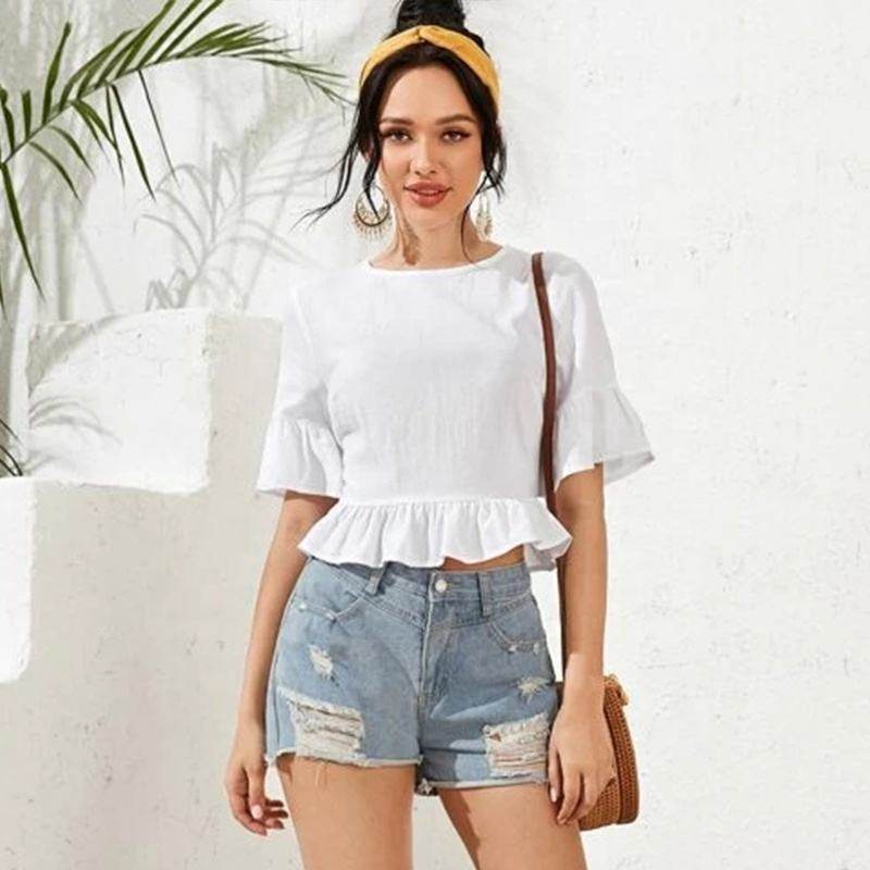 Ruffles Summer Crop Tops Women Petal Sleeve Solid Color O-Neck T-shirt Back Hollow Out Tops Elastic Cropped