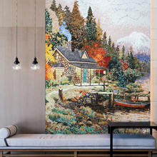 City Landscape Wall Mural Tiles Handmade Glass Tile Mural Mosaics Impressionist Art Glass Mosaic Wall Mural for Bathroom