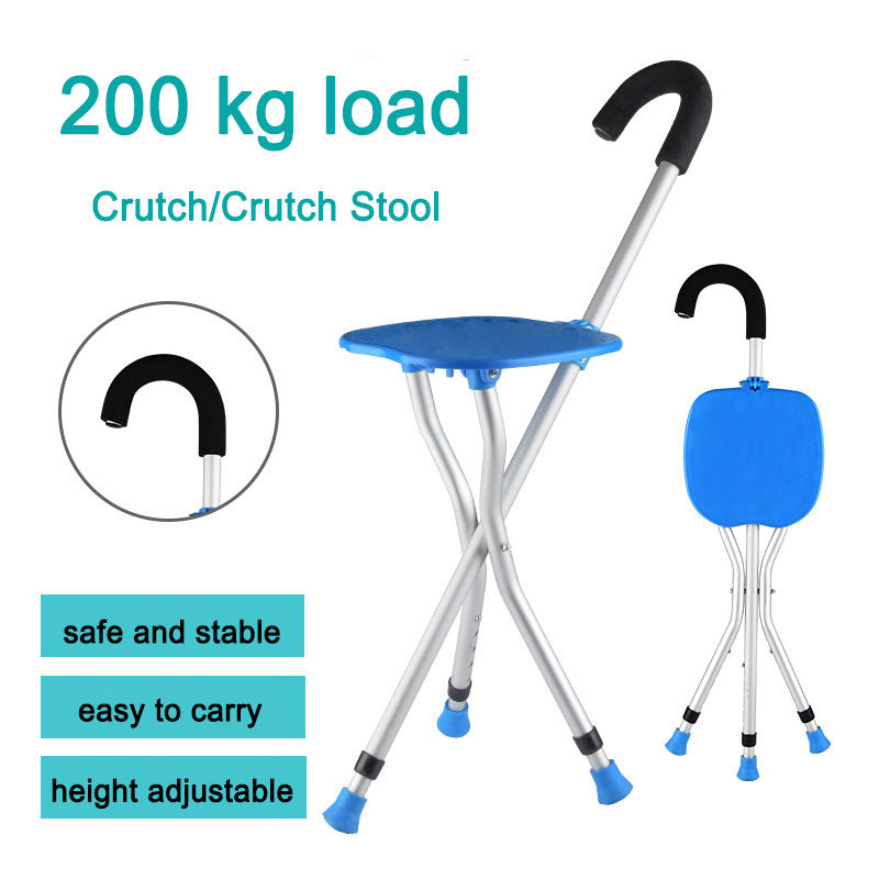 Walking Stick Chair Folding Walking Stick Seat Crutch Stool Three Legged Cane for Old People