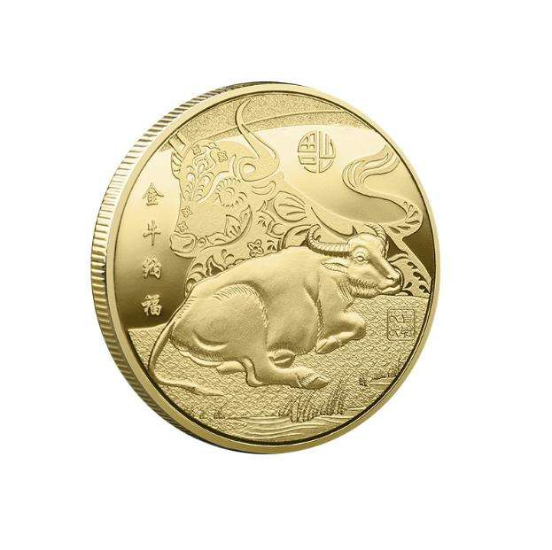 40mm size Chinese 2021 new year ox coin golden and silver