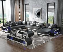 Super modern style LED lamps living room sofa set top grain genuine leather sofa