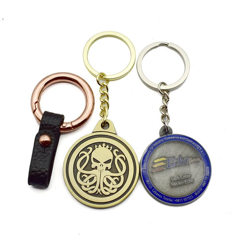 Embossing Enamel Round Shape Souvenir Key Chain Custom Car Logo Sublimation Metal Giveaways Promotional Keychain