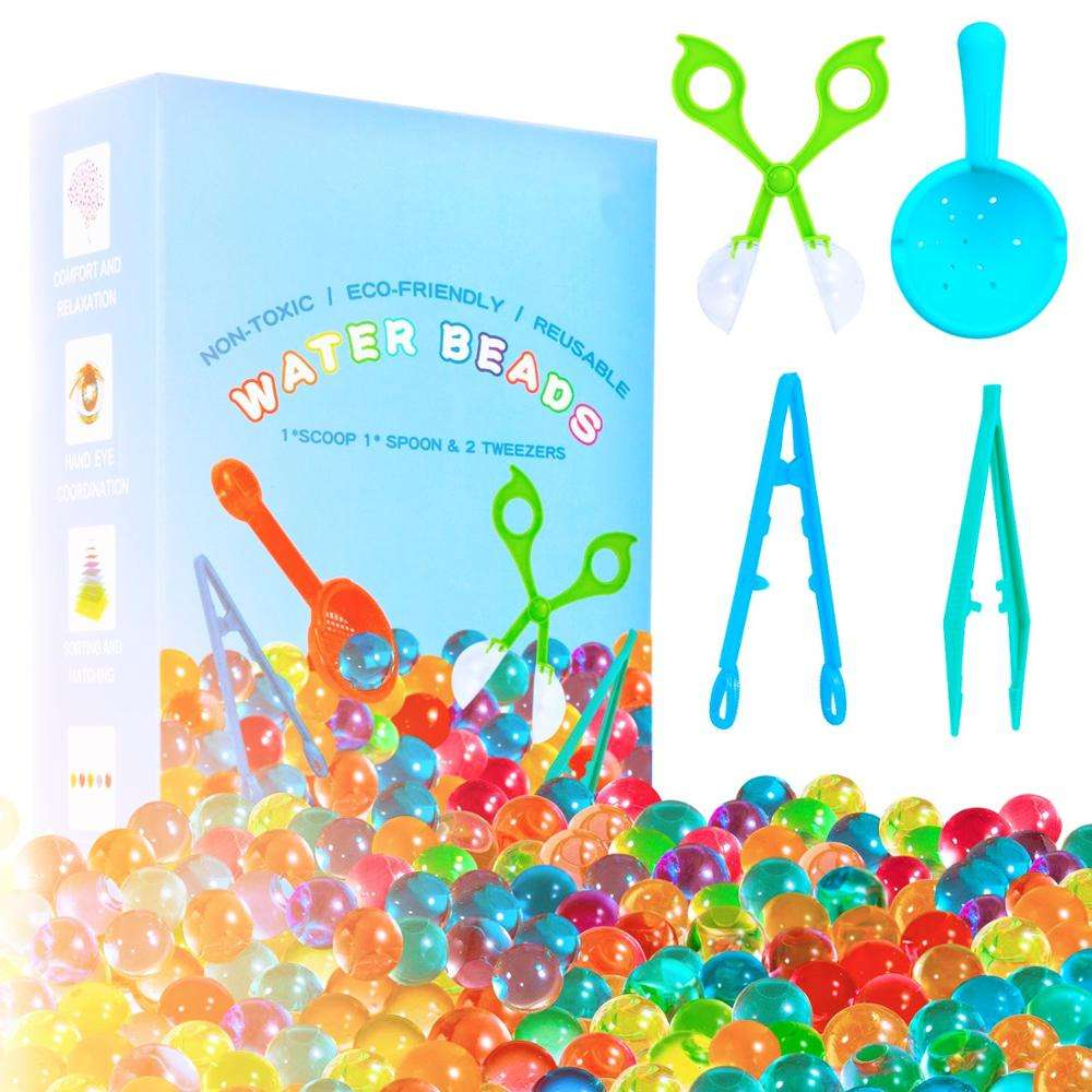Water Beads - 70000 Beads 1 Scoop 2 Tweezers 1 Spoon, Soft Water Jelly Beads Motor Skills Toy Set,Non-Toxic Water Sensory Toy