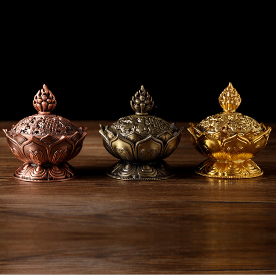 Factory OEM wholesale antique Arabic metal brass gold plated cone cast iron charcoal incense burner