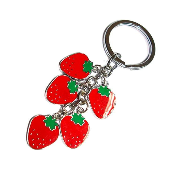 Supplier High Quality Customized Personalized Enamel Metal Rose/Strawberry Shaped Keychains