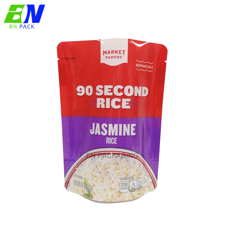 High barrier PE plastic stand up high temperature cooking food bag retort pouch for ready to eat food
