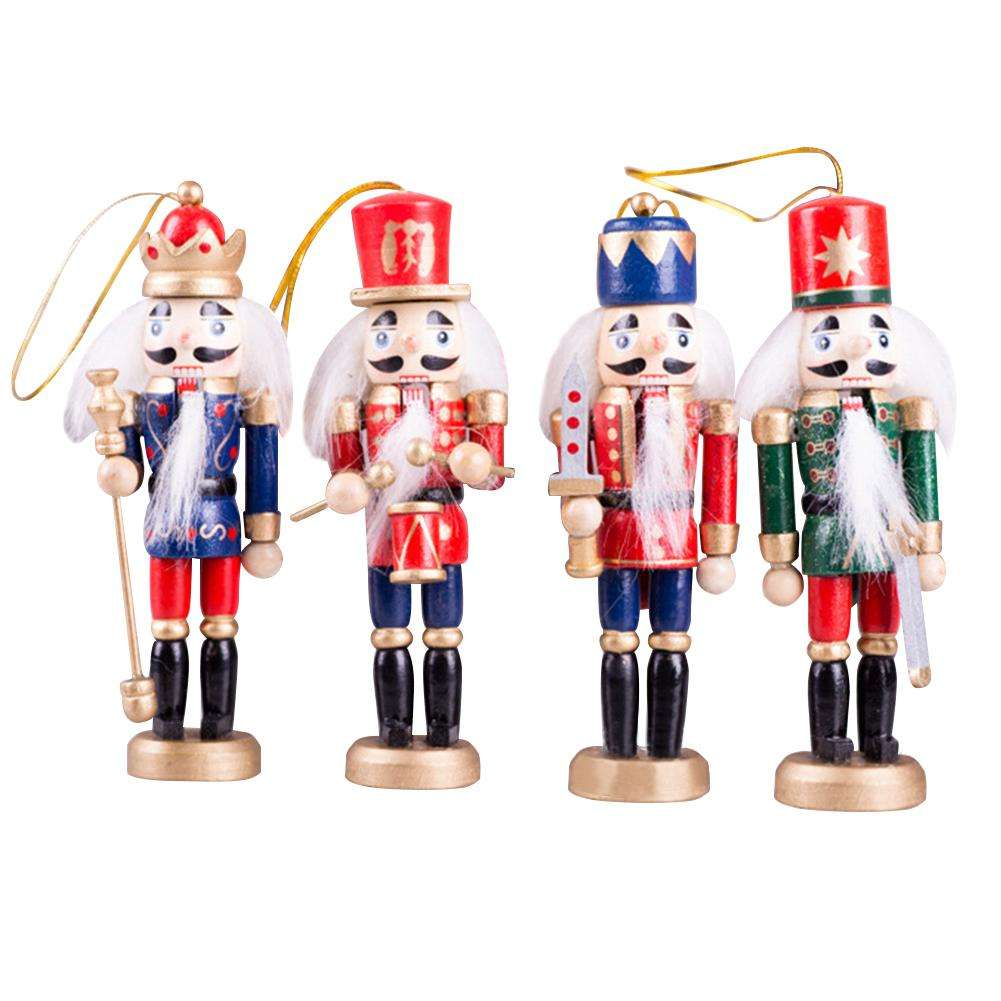 Christmas Decorations Wooden Nutcracker Puppet Soldier 12CM 4pcs/Pack Children's Christmas Gifts Desktop Ornaments Dropshipping