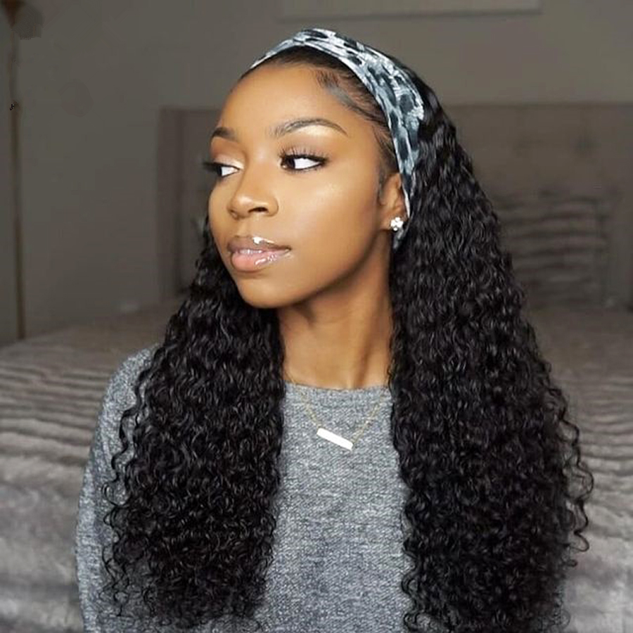 2021 new hairstyle idea Remy Virgin Hair Curly Wave Brazilian Cuticle Aligned Headband Ponytail Wig Human Hair For Black Women