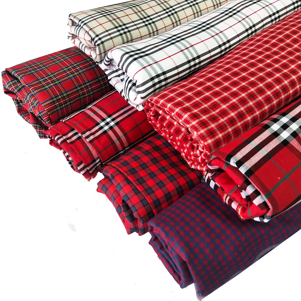 Brushed Shirt Textiles Check Tartan Cotton Fabric Plaid Fabric Yarn Dyed Plain Cotton Fabric for School Uniform Cloth