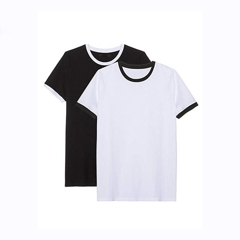 China Clothing Plain Men Black Ringer Tee Men's Solid Round Collar Short Sleeve T-shirt