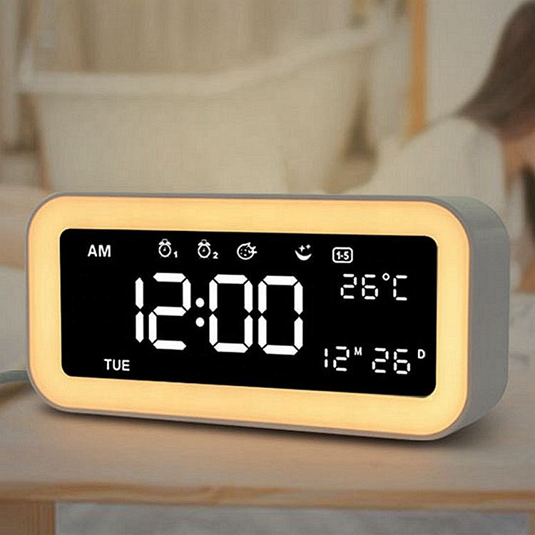 2019 New Creative Home Decor Bedside Night Light Alarm Clock