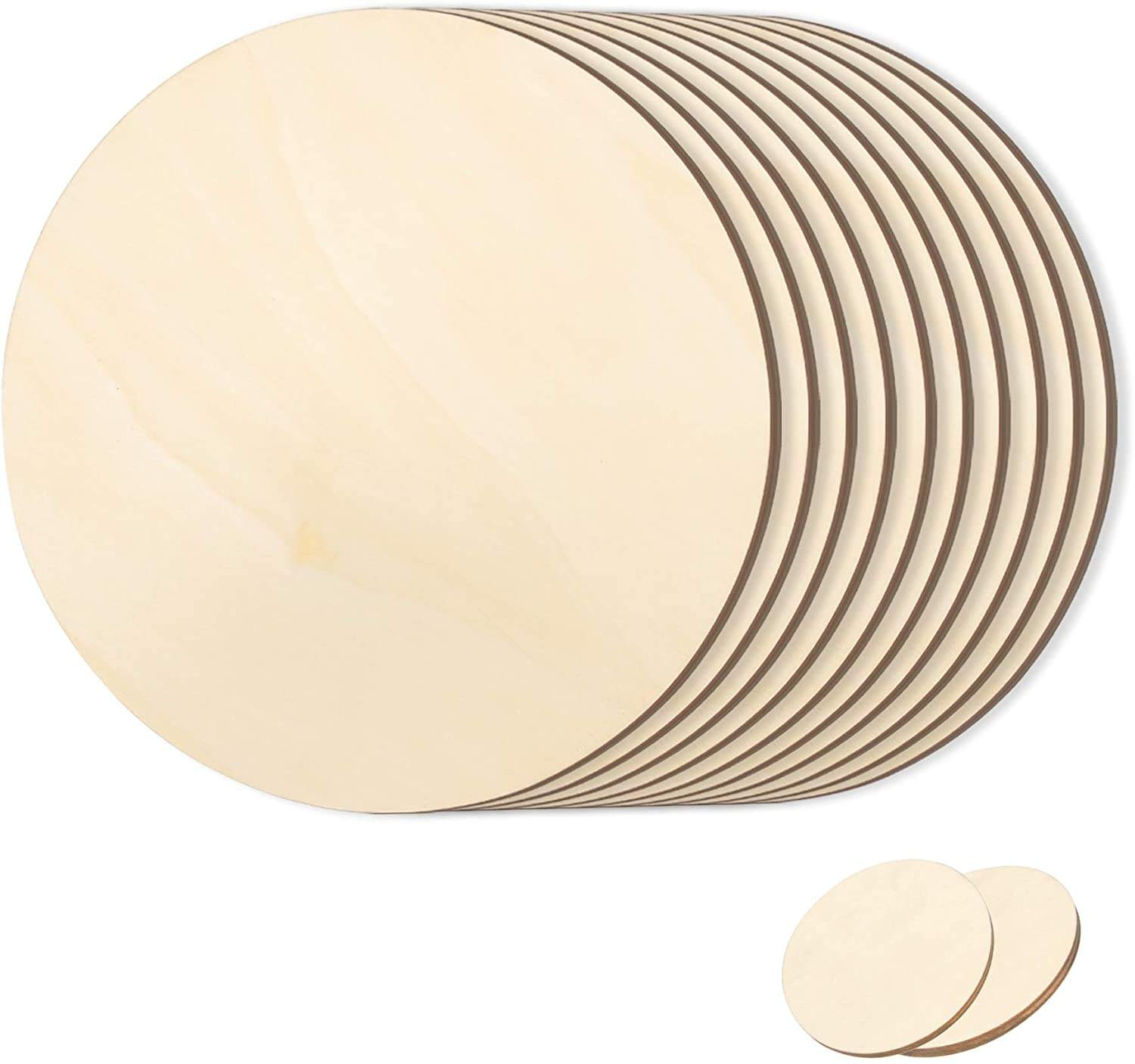 Unfinished Natural Round Blank Wood Discs Circle Wood Cutouts for Craft Supplies