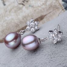 Snowflake gift jewelry silver 925 cz 8-9mm top grade real pearl earrings freshwater