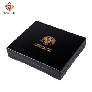 Custom Luxury Black MDF Gift Souvenir Coin Storage Wooden Box With Eco - friendly Paint