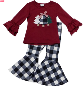 New Arrival Christmas Pajamas Fall Winter Kids Clothing Toddler Baby Girl Outfit Wholesale Children's Boutique Clothing