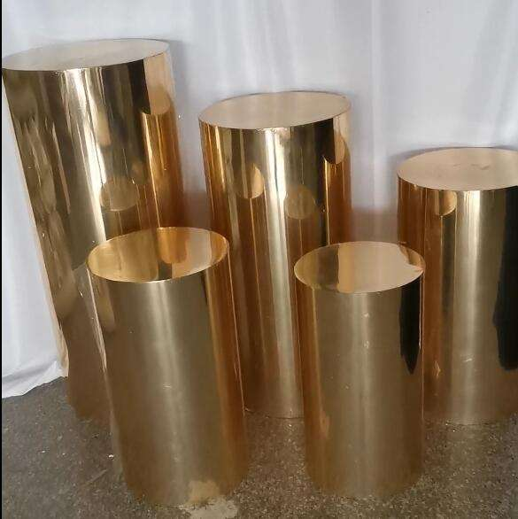 Factory wholesale event party background display cylinder dessert table stand shiny gold wedding plinth