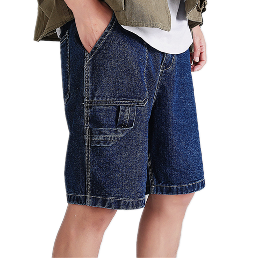 Denim Shorts Blue Jeans Men's Casual Shorts Jeans Original Straight Jeans Big Pockets Knee Length Cargo Shorts
