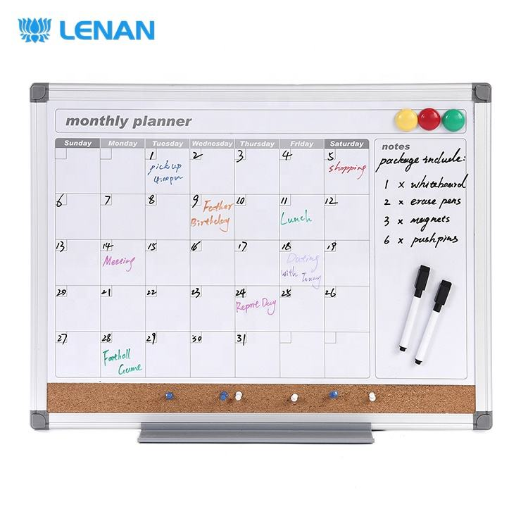 Aluminium Frame Combination Magnetic Planning Whiteboard Calendar & Cork Board Weekly Monthly Dry Erase Planner Board