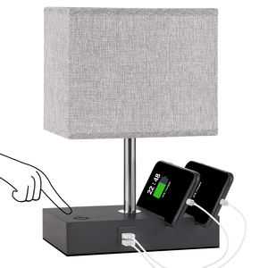 Modern Table Lamp with USB Port Fully Dimmable Touch Control Bedside Lamp