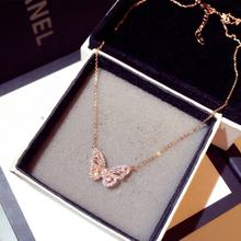 New Fashion Korean Pendant Necklaces Trend Exquisite Super Flashing Rhinestone Butterfly Clavicle Short Necklace