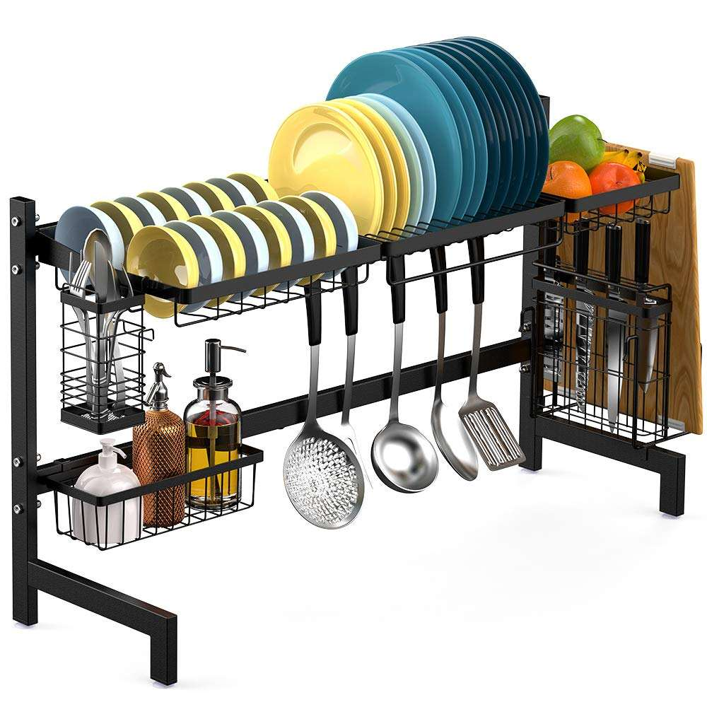 Wideny wholesale multi-function over the sink Removable black metal stainless steel drain dish rack for foldable kitchen