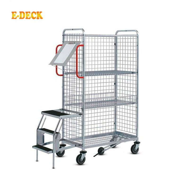 Industrial Logistic Stacking Foldable Nestable Storage Metal Wire Mesh Picking Trolleys Cart