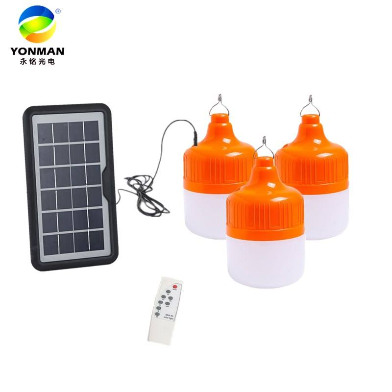Orange All 50W 60W 80W 100W led rechargeable solar lights USB E27 charging solar bulb