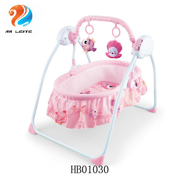 Foldable electric musical baby swing cradle with charge infant swing bed with remote control and mosquito net