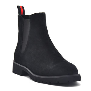 Cow suede sheepskin genuine leather soft lining rubber outsole antislip black brown tan high cut safety shot chelsea boots