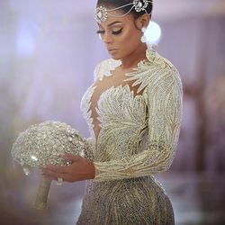 LUWEIYA Hand Made Beaded And Crystal Wedding Gown With Train
