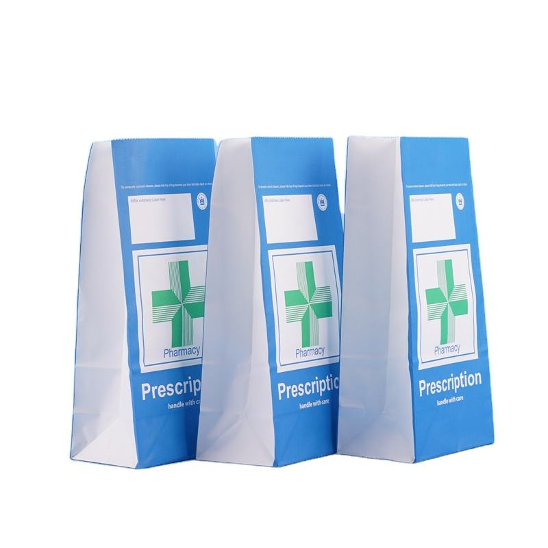 RX kraft paper pharmacy Prescription pill medicine paper bag for hospital