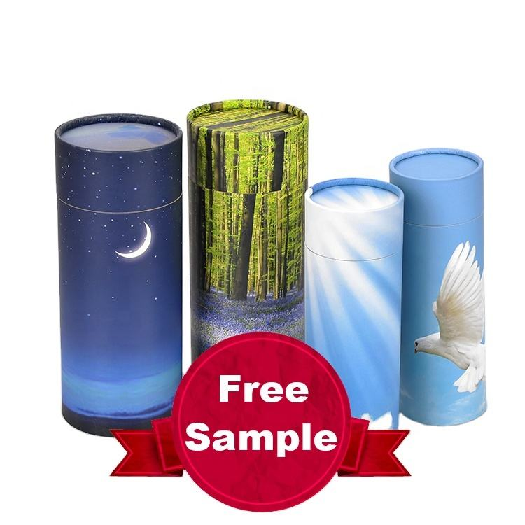 MKYB052-2 Wholesale Funeral Economic Paper Biodegradable Cremation Urnas Bio For Pet Animal Ash Scatter Tube Biodegradable Urns