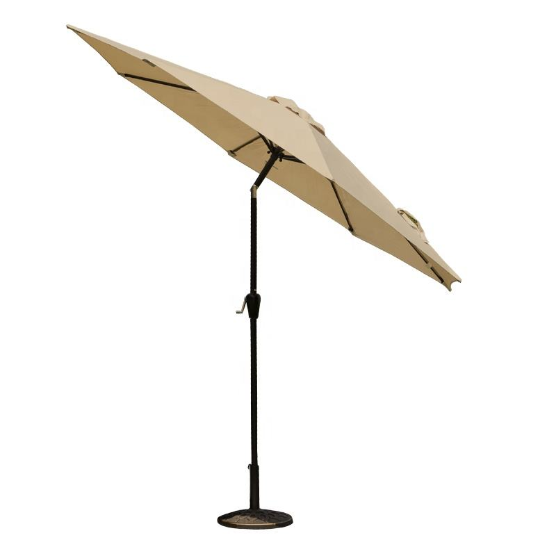 Outdoor Umbrella Waterproof Garden Beach Restaurant Umbrella Patio Sun Parasol Iron Umbrella With Push Button Tilt And Crank