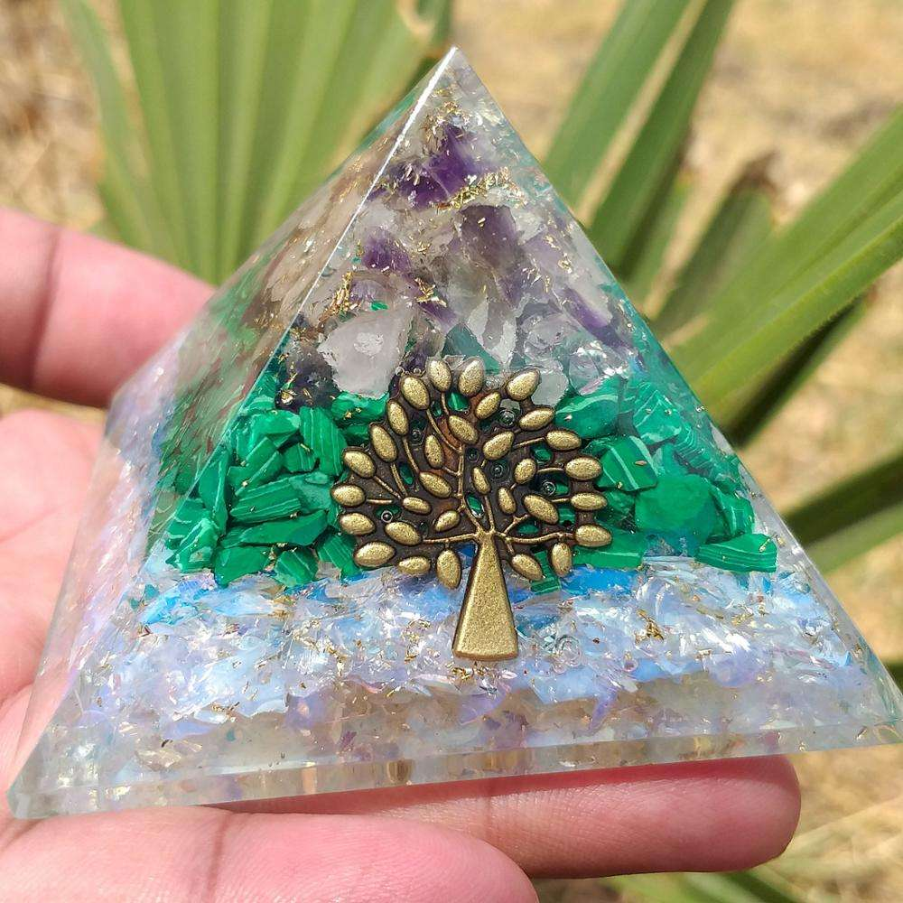 Wholesale Orgonite Pyramid | Orgonite Pyramids for Emf Protection with Malachite, Amethyst, Opalite Orgone generator Pyramid