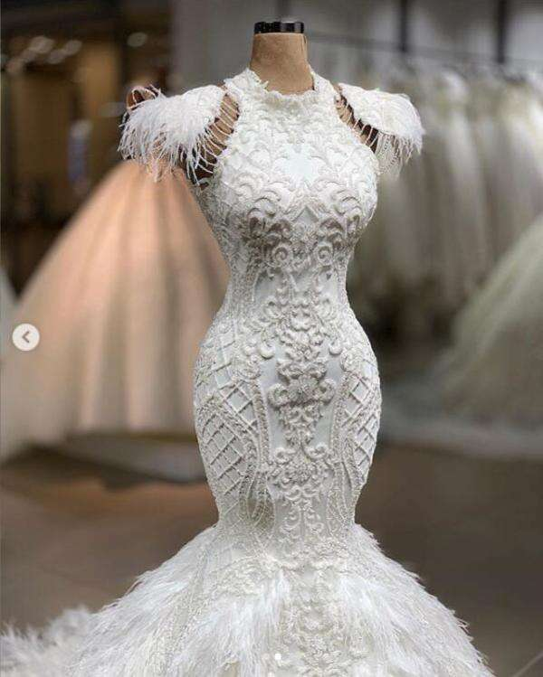 Real Image Luxury Feather White Mermaid Wedding Dresses Lace Bridal Gowns Custom Made Dubal Wedding Gowns