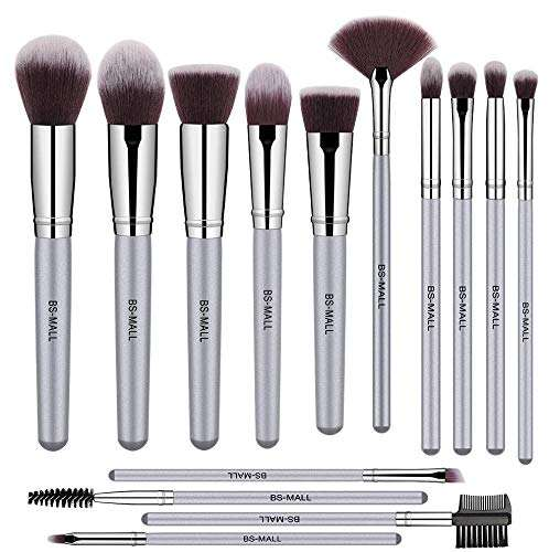 Wholesale 14PCS BS-MALL silver make up brushes 14pcs pinceles de maquillaje make-up brushes Amazon sliver make-up brushes