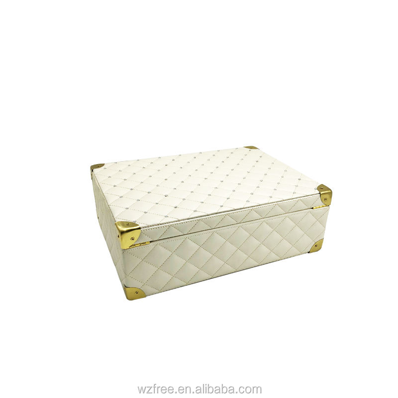 Zipper Hasp Custom Personalized Leather Cosmetic Case PU Perfume Makeup Bag Set Swarovski Auger Boxes