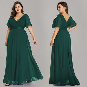 Ever-Pretty Long Empire Waist Plus Size Bridesmaid Dresses With Short Flutter Sleeves