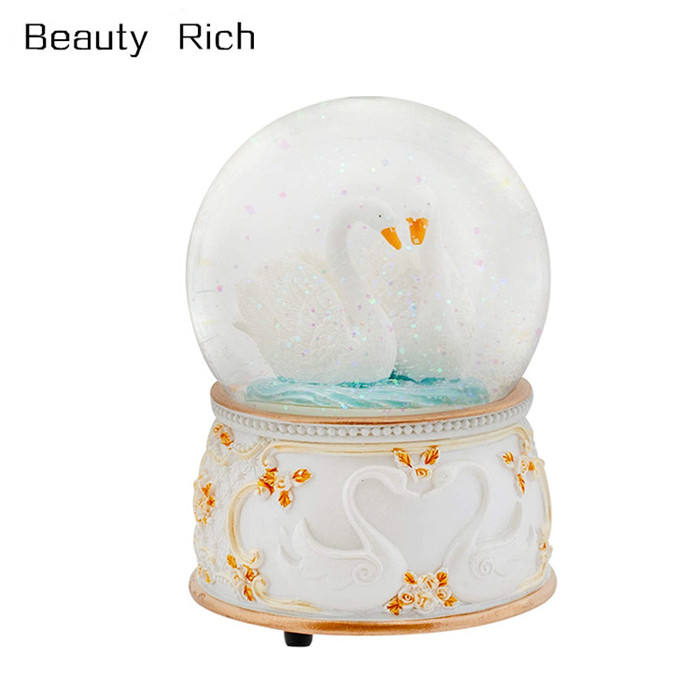 Graceful White Revolving Swan 100MM Musical Water Globe Plays Tune Swan Lake