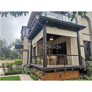 Automatic Sunshades Outdoor Print Fabric Windproof window blinds blackout balcony curtain for Patios