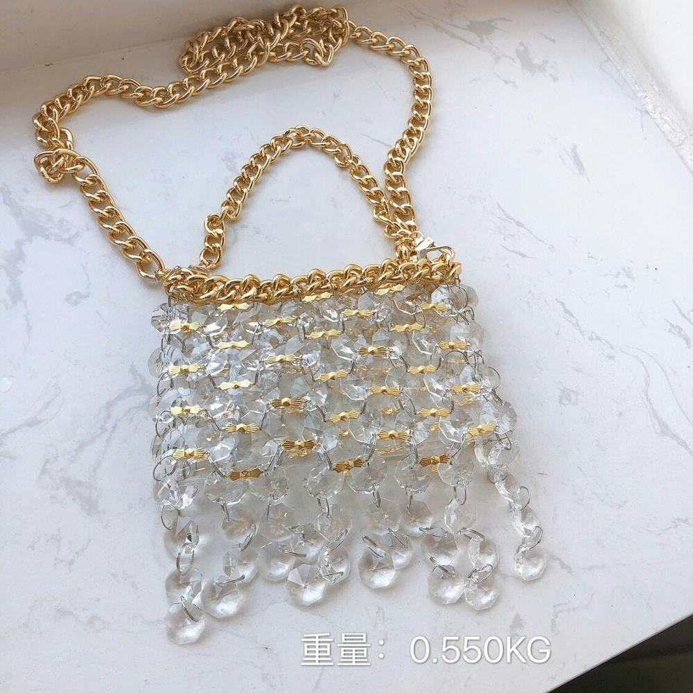 New South Korean fashion hand woven bag in spring and summer 2020 crystal small square bag blogger Portable Single Shoulder Mess
