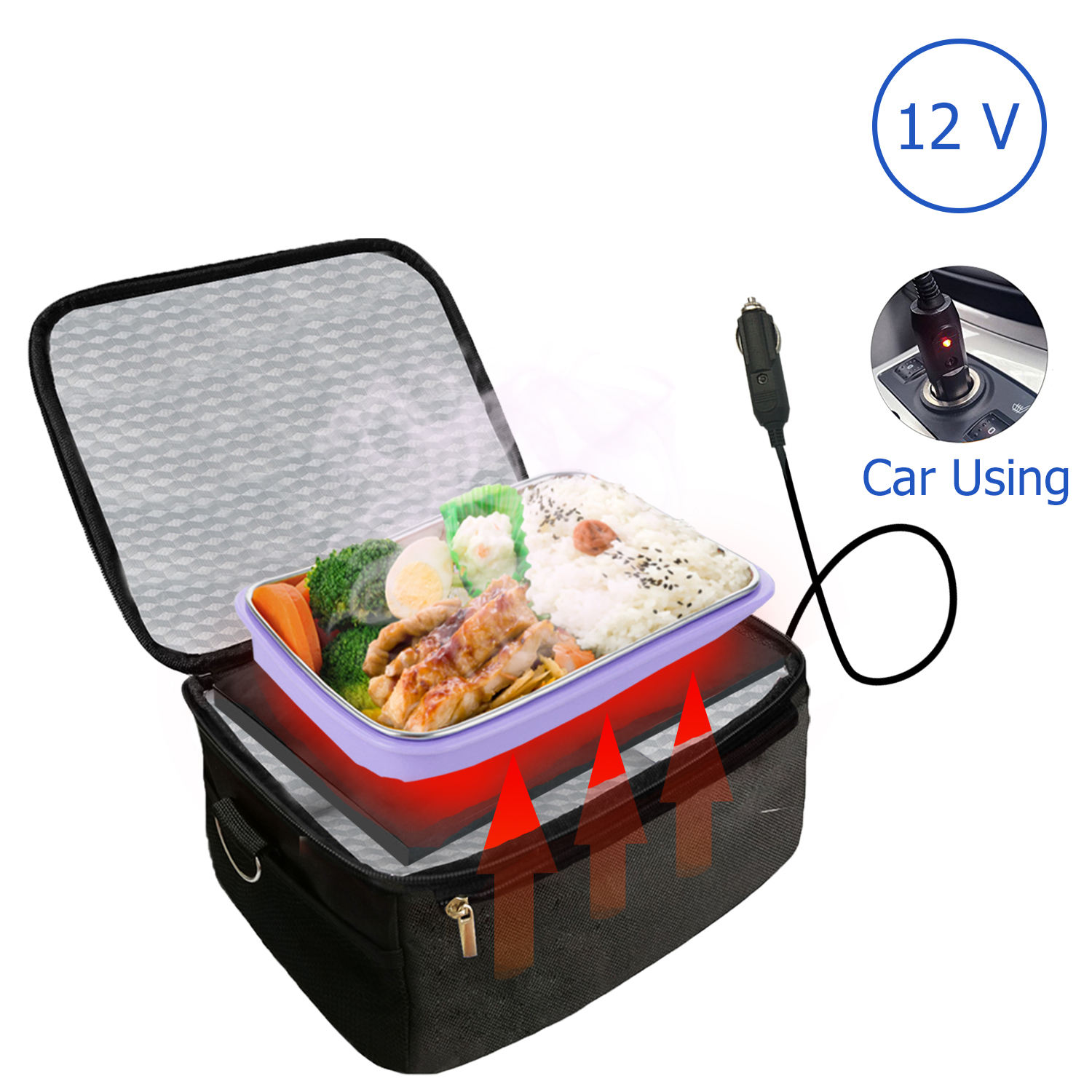 Electric Lunch Box Car Portable Oven and Lunch Warmer - Personal Heating Lunch Box for Reheating Meals &Raw Food Cooking
